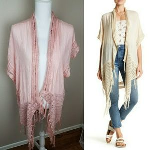 Forgotten Grace Pretty Pink Crochet Fringe Kimono